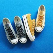 . CONVERSE ALL STAR PLTS VELVET OX CHARCOAL GOLD ¥7,500+tax . #converse #allstar #chucktaylor #shoes #kicks #platformshoes #velvet #gold #charcoal #japanlimited #コンバース #オールスター #チャックテイラー #シューズ #スニーカー #プラットフォーム #ベルベット #ゴールド #チャコール #スニーカー女子 #コンバース女子 # #エービーシーマート #ABCマート